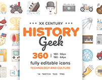 20 Century History.Color line Icons