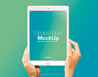 Female Hands with White Vertical iPad Air Mockup