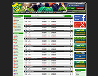 Online live scores website layout