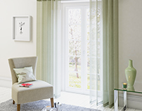 Room with various type of curtains