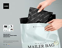 Mailer Bag Wrapping Tissue Paper Mockup Set
