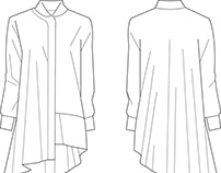 Fashion flat drawing of long asymmetric draped shirt