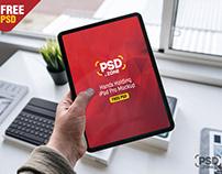 Hand Holding New iPad Pro Mockup