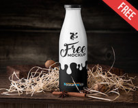 Milk Bottle - Free PSD Mockup