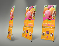 Ice Cream Roll-up Signage Banner Template Vol.3