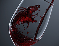 "3D ""high-bodied"" wine splash"