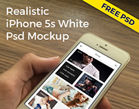 Free PSD Realistic Mockup - iPhone 5s White