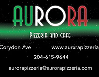 Website and business card for Aurora Pizzeria and Cafè.