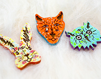 Trippy Critter Wood Pins