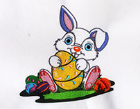 CHARMING RABBIT AND EASTER EGG EMBROIDERY DESIGN