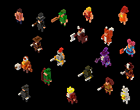 Voxel art tiny characters