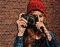 Brick wall portrait photo