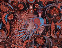 Silk shawl in modern Russian style