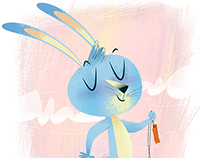 Happy Bunny holding a Jump Rope!