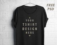 Free Realistic Hanging T-Shirt Mockup PSD