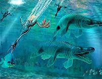 Hesperornis and Mosasaurus feeding frenzy