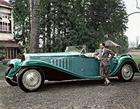 Jean Bugatti standing beside the Esders Roadster, 1932.