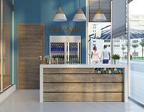 Interior design concept of the fitness club 'Sand studi