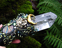 TARANIS OF THE DRUIDS Chlorite Quartz Crystal Wand