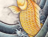 Golden crap Japanese Koi fish