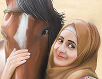 Palestinian girl and Horse