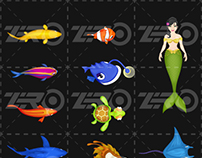 Sea Animals Design for Fish Shooting Game
