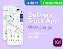 Delivery Truck App Adobe XD+Auto anima +FREE DOWNLOAD