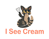"""Logo for rolled ice-cream shop """"I see cream"""""""