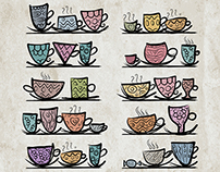 Collection of illustration with onnate cups
