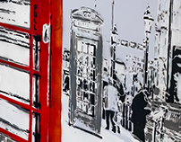 Indoor Street Art - 'London street' mural
