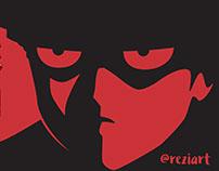 Mob Psycho monochrome version black red