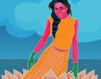 Mermaid in Rickshaw Painting