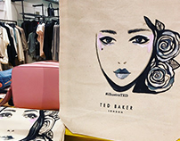 Live illustrating for Ted Baker