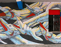 """Gods in Love - """"Food frenzy"""" - Wall in Lecce - Italy"""