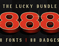 The 888 Lucky Bundle - 8 Fonts, 88 Badges