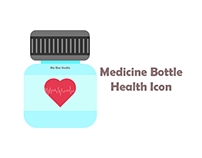 Grey Medicine Bottle Health Icon