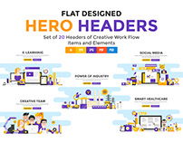 Set of Modern Flat Color Banners Design Concepts