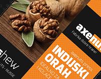 Packaging design for axanut, fine food factory