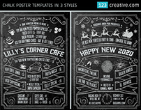 Chalk Poster in 3 styles - Halloween, New Year and Menu