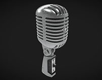 3d model of microphone in WebGL. Modeling and texturing