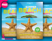 Beach Summer Party Flyer PSD Template