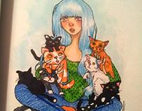 La chica y los gatos