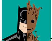 Batman vs Groot Poster