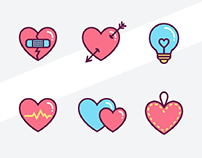 6 Heart Icons Sketch Resource