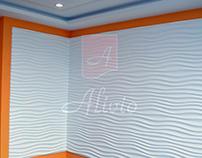 Гипсовые 3D панели Alivio серии Briz в интерьере