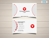 Sleek Red White Business Card