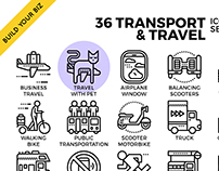 Transportation & Travel Outline Icon Set