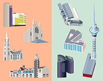 Isometric illustration: Tourist attraction in NZ