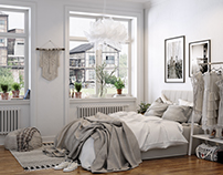 Bedroom - scandinavian interior design.
