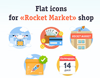 Flat icons for «Rocket Market» shop